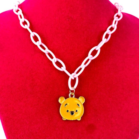 Winne da Poo on Pink Plastic Chain Necklace